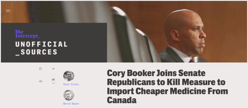Cory booker joins senate republicans to kill measure to import cheaper medicine from canada used that amendment to